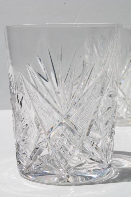 Vintage Cut Crystal Glass Tumblers Whirling Star Pinwheel