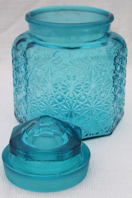 vintage daisy and button glass canister jar w lid aqua