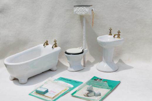 vintage dollhouse miniatures real china bathroom fixtures