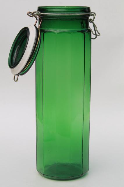 canisters kitchen skinny cabinet vintage emerald green glass canister, tall ...