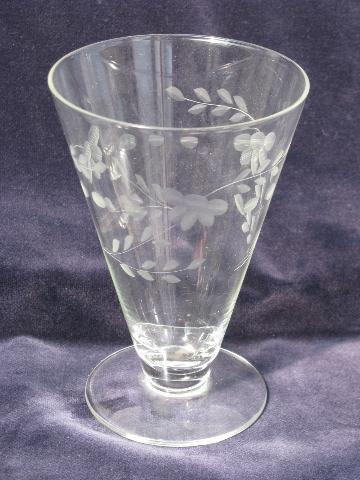 Vintage Etched Glass Footed Glasses For Parfait Or Ice Cream