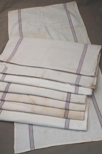 vintage flour sack towels red  blue striped cotton