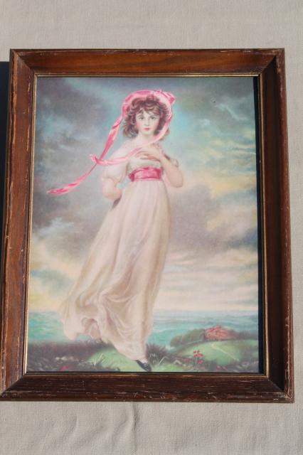 Vintage Framed Prints Pinkie Amp Blue Boy Shabby Cottage
