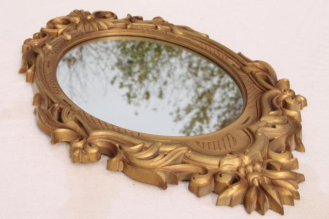 Vintage Gold Rococo Plastic Frame Oval Wall Mirror, French