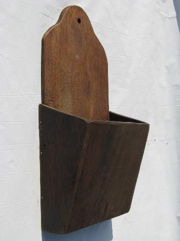 Vintage Handmade Walnut Wood Wall Box Or Match Holder