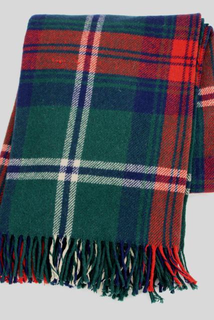 Vintage Heavy Wool Plaid Camp Blanket Rustic Primitive