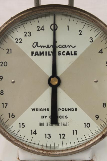 vintage kitchen scale American Family 25 lb steel