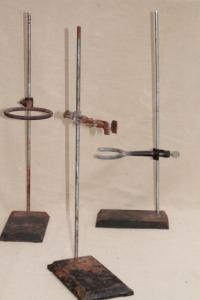 vintage lab beaker stands, heavy steel holder racks for