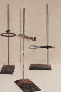 vintage lab beaker stands, heavy steel holder racks for ...