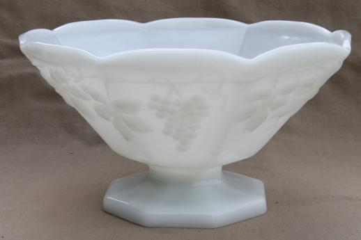 Vintage Milk Glass Lot Anchor Hocking Grapes Pattern
