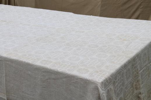 Vintage Natural Flax Linen Fabric Tablecloth Rustic