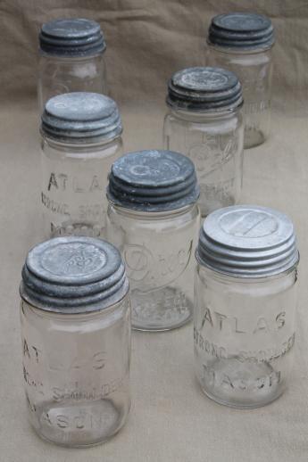 Vintage Pint Size Mason Jars W Zinc Metal Lids Antique