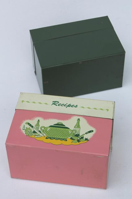 recipe boxes pink kitchen print metal card file box for recipes cards
