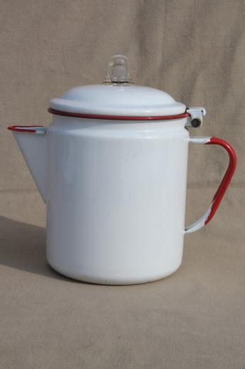 kitchen table with leaf the honest com vintage red & white enamelware coffee pot, band enamel ...