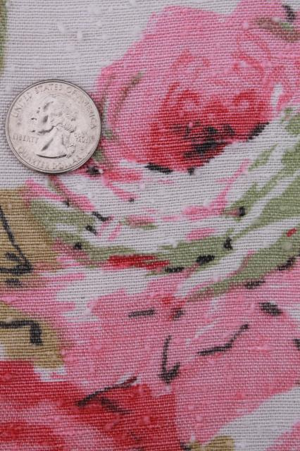 Vintage Roses Print Rayon Barkcloth Curtain Panels Shabby Cottage Chic Pink Rose Floral Drapes