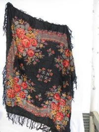 vintage roses print wool challis fabric shawl or scarf ...