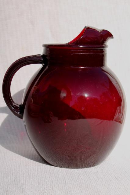 Vintage Ruby Red Glass Pitcher Ball Jug Shape Water Or