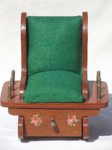 antique sewing chair cheap covers for sale uk vintage box wooden rocking pin cushion w thread spools rack