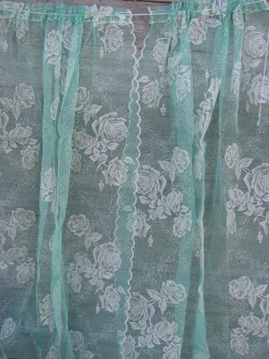 vintage sheer summer curtains jadite green net w white