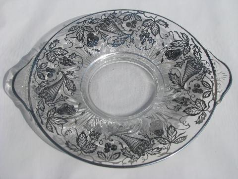 Vintage Silver Deposit Overlay Glass Large Cake Plate