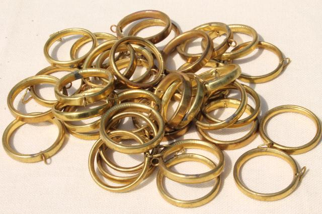 vintage solid brass curtain rings lot