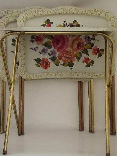 vintage tin tray TV tables folding snack tables w shabby chic flowers