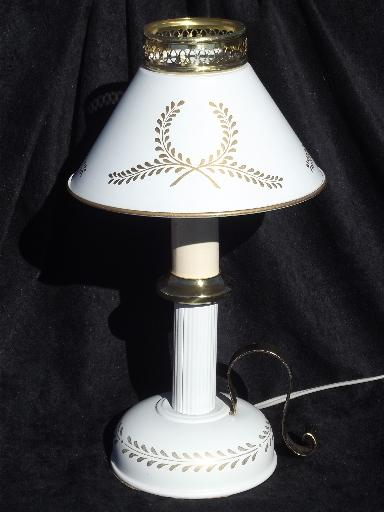 Tall Bedside Table Lamps Vintage Tole Candlestick Lamp W/ Metal Shade, Cottage