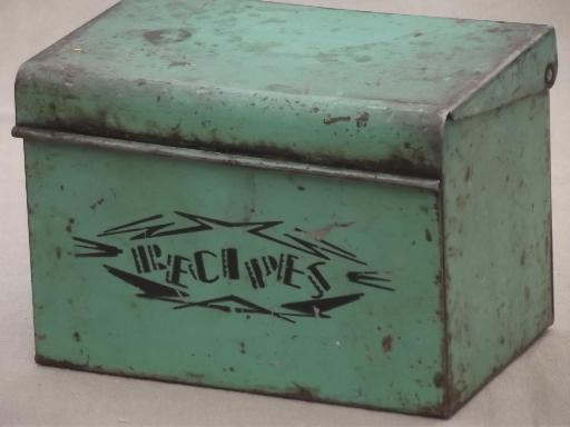recipe card box jadite green metal w monarch flour recipes