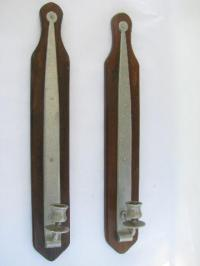 tall colonial pewter sconces for candles, wall mount ...