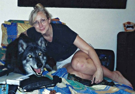"""With a friend's """"Towlyn"""", 95% wolf, 2002"""