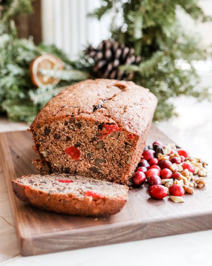 "My ""Merry Cherry"" Banana Bread for Christmas Morning"