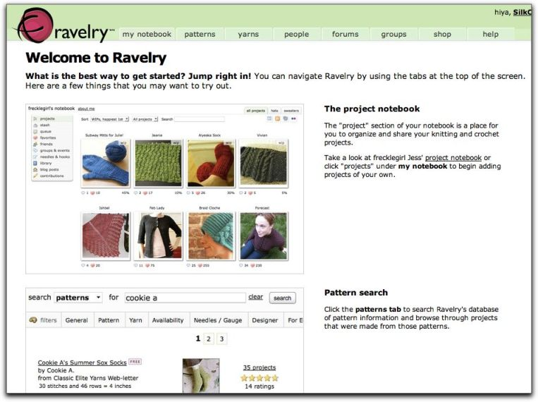 Ravelry knitting welcome page