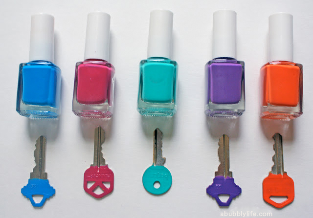 ... glitter key- But I did not have glitter or glue and did not want to buy  any, so I decided to use my new Spring colors set of nail polish I had!