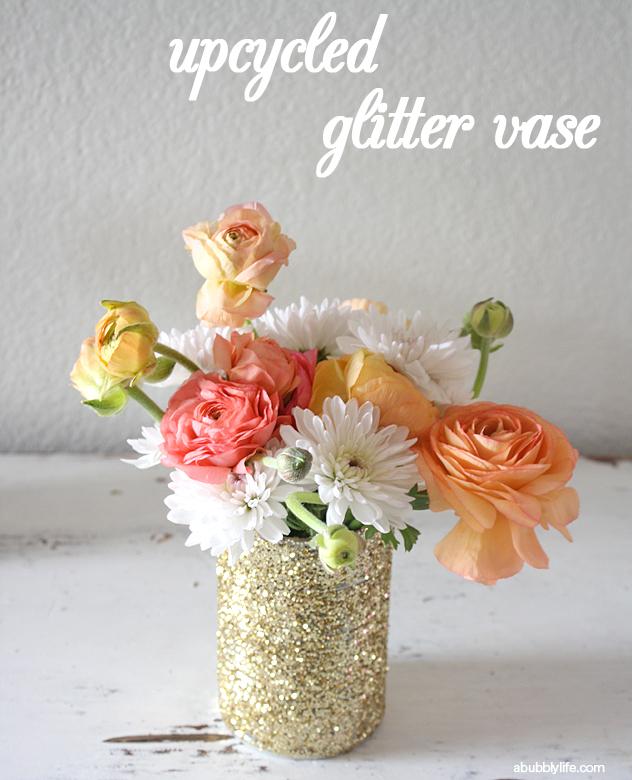 A Bubbly Lifeupcycled Glitter Vase Diy A Bubbly Life