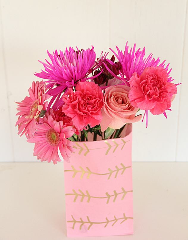 A bubbly lifegold leaf paper flower vase a bubbly life add initials to the heart for an inexpensive wedding centerpiece just save old glass jars for inside the bag no one will ever know unless you have really mightylinksfo