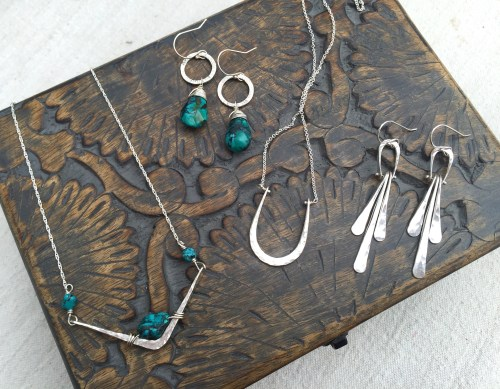 Hand forged Silver with Turquoise