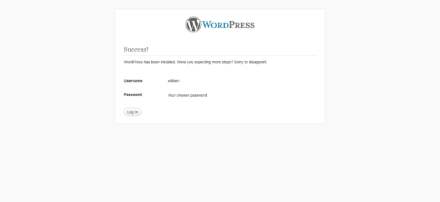 WordPress installation Step 6