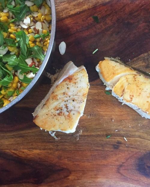 Josh's Halibut with Arugula and Corn Salad / Laurenariza.com