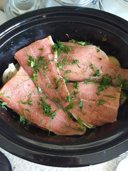 SLOW COOKER SALMON WITH POTATOES, FENNEL, AND HERBS // laurenariza.com // recipe schmecipe