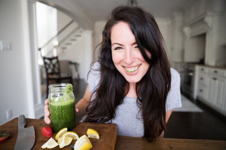 green juice girl smiling