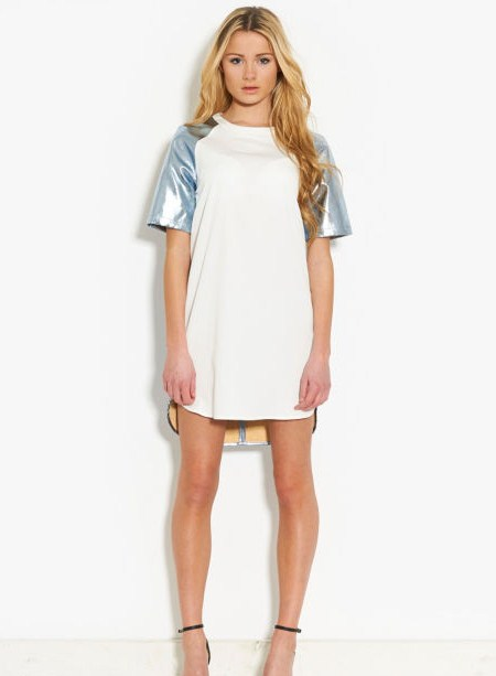 lavish alice off white and metallic dress