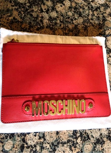 moschino red clutch