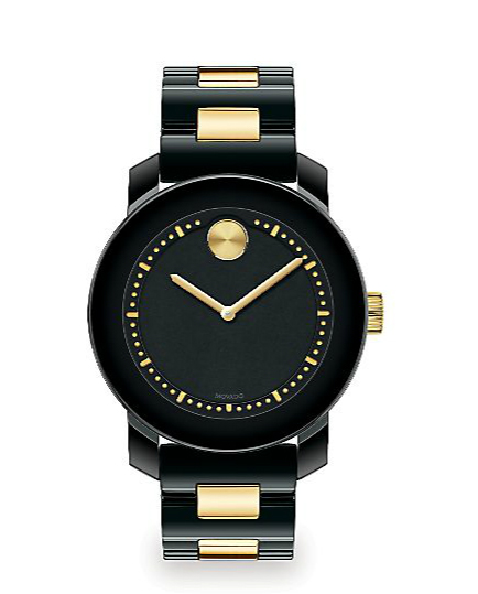 movado bold black and gold watch