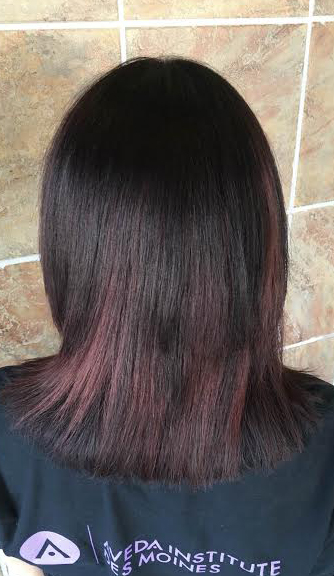dark shiny brunette with subtle dark red tones