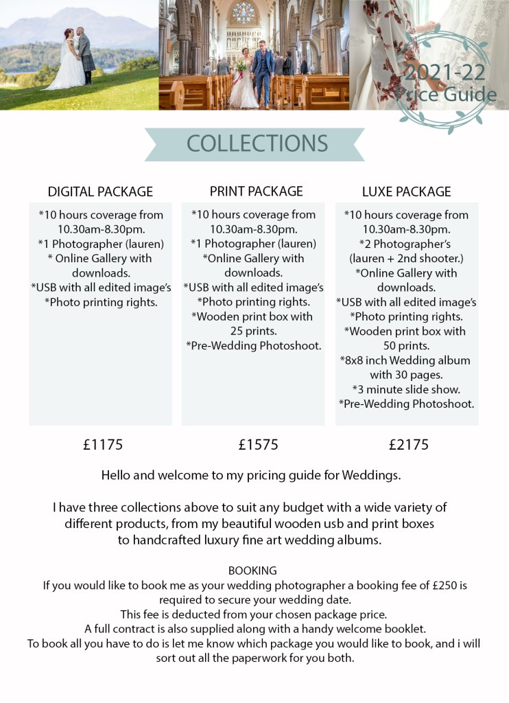 Pricing guide for lauren campbell wedding photography
