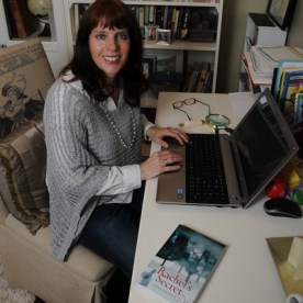 Shelly Sanders at her desk.
