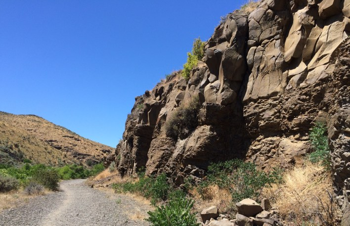Andesite walls drop straight down to the floor of Cowiche Canyon