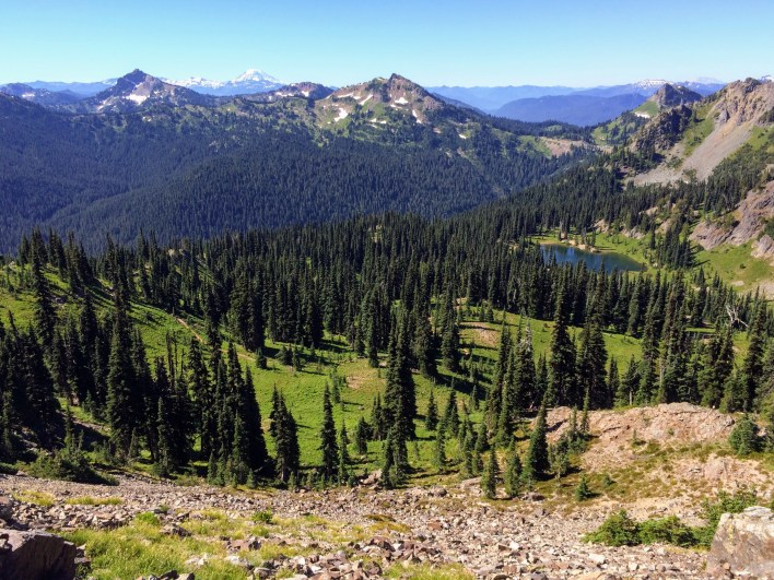 Mount Adams and Mt. St. Helens are visible from the notch above Sheep Lake