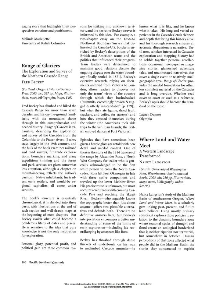My review of Fred Beckey's Range of Glaciers, published in the Spring 2004 issue of Pacific Northwest Quarterly and reprinted here by permission. (Courtesy Pacific Northwest Quarterly)