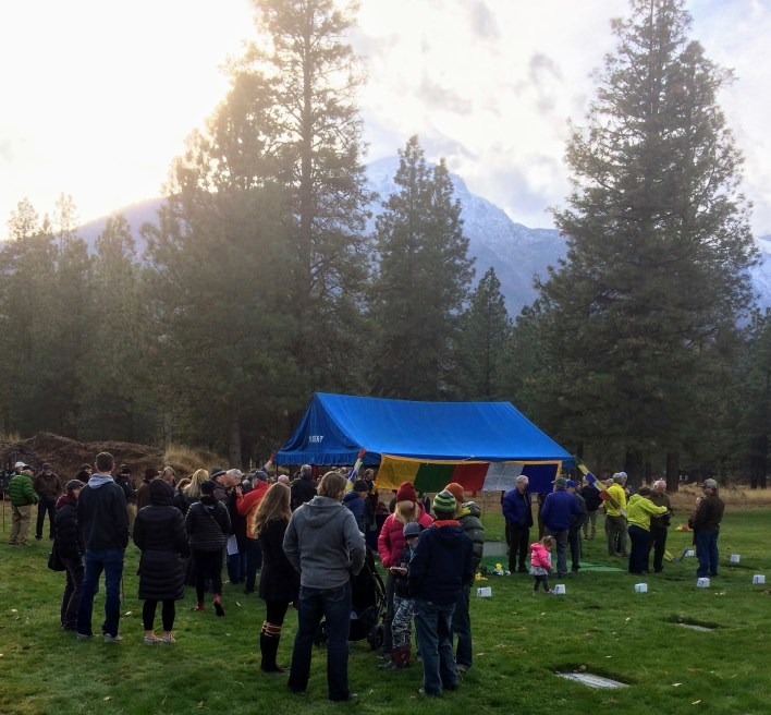 Friends and fans gather graveside at Fred Beckey's interment.